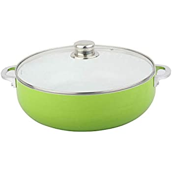 Home Value Nonstick Caldero with Glass Lid, 3mm Thickness (1.9 QT)