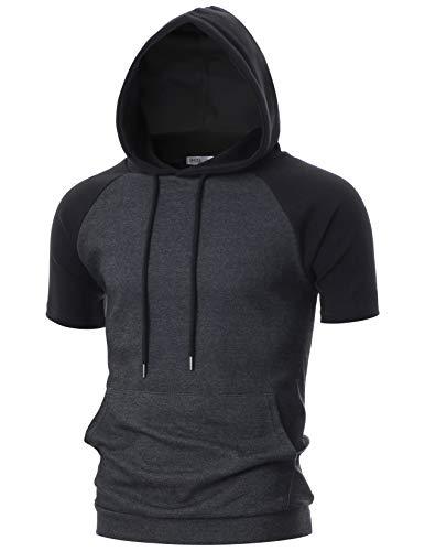 OHOO Mens Slim Fit Short Sleeve Lightweight Raglan Zip-up Hoodie with Kanga Pocket/DCF123-CHARCOAL/BLACK-L (Best Slim Fit Hoodies)