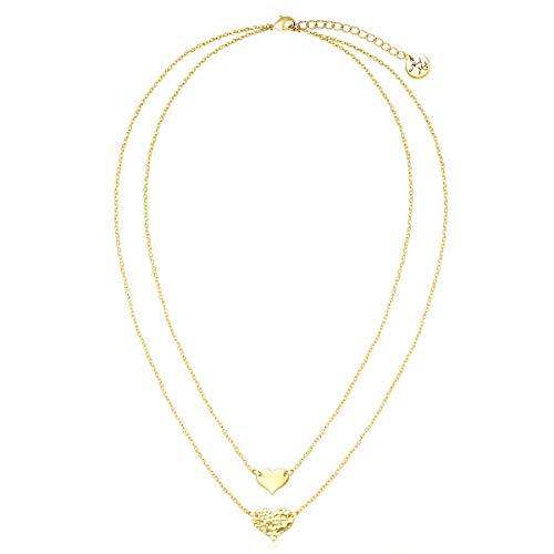 VACRONA Gold Layered Heart Pendant Necklaces,18K Gold Filled Tiny Choker Dainty Cute Handmade Pendants Necklaces Jewelry for Women