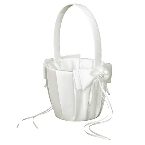 Artificial & Dried Flowers - Phfu Faux Pearl Flower Wedding Girl Basket Bowknot Decor Ivory - Jewelry Invites Gifts Guest Flower Ring Holder Vases Clips Basket Headpiece Piece Suit Decorations ()