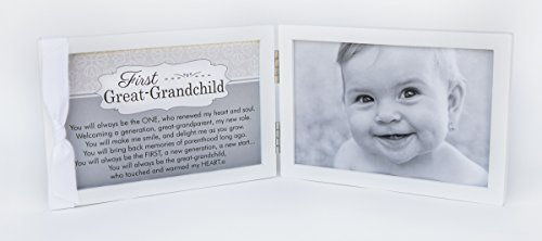"First Grandchild Picture Frame- White Double Hinged Tabletop Photo Frame Holds 4""x6"" Pictures or Ultrasounds- Includes Beautiful Sentiment/Poem and Accented White Ribbon (Great Grandchild)"