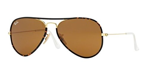 Ray Ban Men's RB 3025JM-001 Tortoise & Gold frame / Brown lens, Aviator 58mm - Gold Tortoise