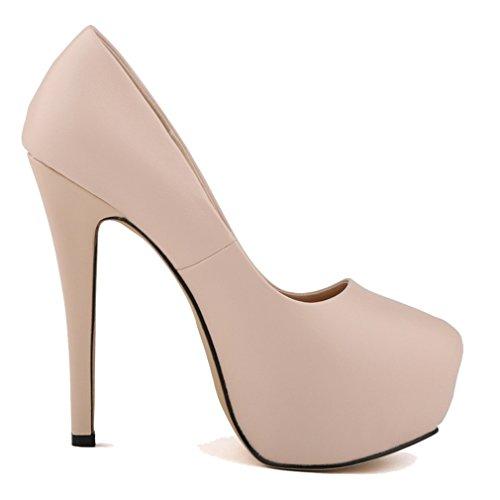 Femmes la de Candy Abricot De forme de Escarpins Hauts à peu Matte Talons Unie Xianshu Couleur Bouche Plate Couleur Profondes Chaussures fx0RddaU