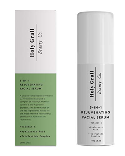 Vitamin C Facial Serum with Hyaluronic Acid & Peptide Complex - Immediate Results! Reduce Wrinkles, Fine Lines & Remove Dark Spots. All In One Anti Aging Moisturizer Wrinkle Cream by Holy Grail Beauty