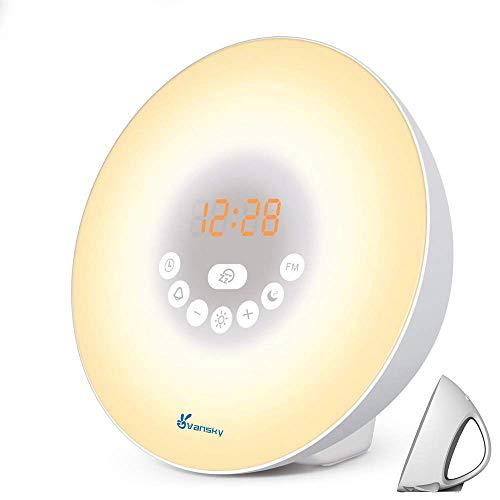 Sunrise Alarm Clock for Heavy Sleepers, Vansky Wake Up Light Digital Clock Multi-Colorful Night Light Bedside Lamp with Snooze Function, 6 Nature Sounds, FM Radio, Brightness Adjustable