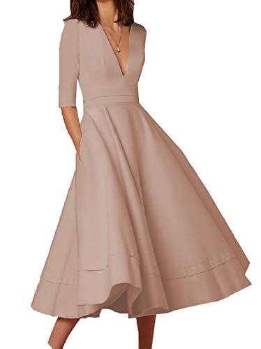 Dress Apricot Jaycargogo Swing Long Evening Sleeve Party Vintage Dress Neck Womens Deep Half V SvSFwq