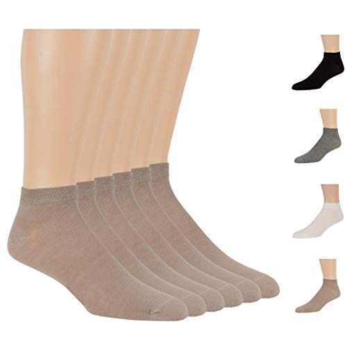 7BigStars Men Women Bamboo Black Ankle Low Cut 6 Pack Breathable No Sting Dress Casual Healthy Seamless Socks ((S) Shoe Size: 4-6 (Sock Size: 7-9), Beige)