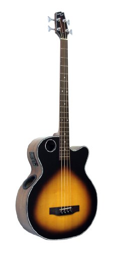 Boulder Creek Guitars EBR1-TB4 4-Strings Acoustic-Electric Bass Guitar, Tobacco Sunburst Finish by Boulder Creek Guitars