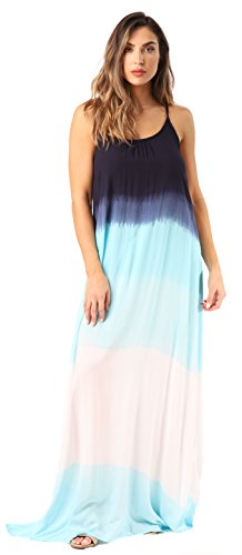 Riviera Sun 21819-NW-L Summer Dresses Maxi Dress Sundresses for Women Navy White