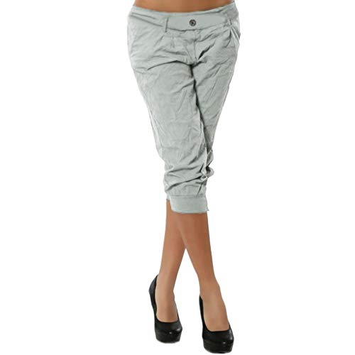 Women Summer Elastic Waist Boho Check Pants Baggy Wide Leg Plus Size Yoga Capris Gray