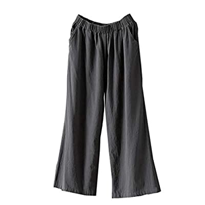 UOFOCO Loose Pants for Women Cotton Linen Trousers Palazzo High Waist Wide Leg Culottes