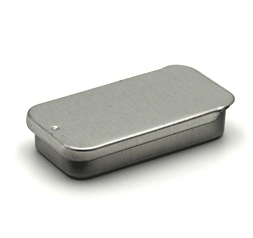 Metal slide top tin containers small for crafts geocache for Small tin containers