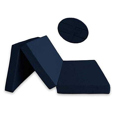 Ventadecolchones - Colchón Plegable con Cierre y Asa 120cm x 190cm x 10cm con Espuma en Densidad 25kg/m3 (extrafirme) y Funda en loneta Premium Azul