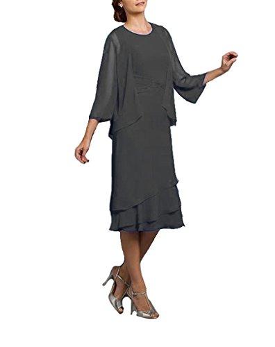 grosse Brautmutterkleider Damen Groessen Abendkleider fuer Tiered mit Bolero BRIDE Festlichen Mutter GEORGE Grau Kleider xSXwqpHEBn