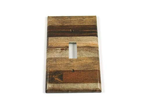 (Single Lightswitch Plate Faux Brown Wood Planks (278S))