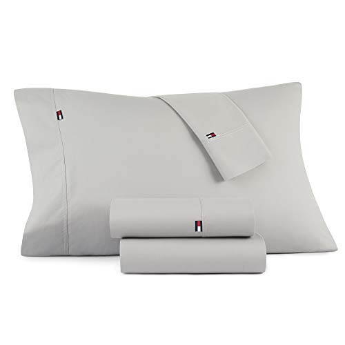 (Tommy Hilfiger Signiture Solid Sheet Set, King, Grey 4)
