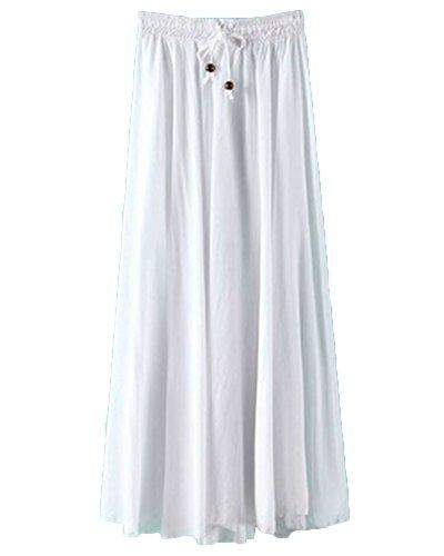 ZhuiKunA Jupe Femme Taille lastique Cordon Couleur Pure Vintage Mi Longue Plisse Blanc