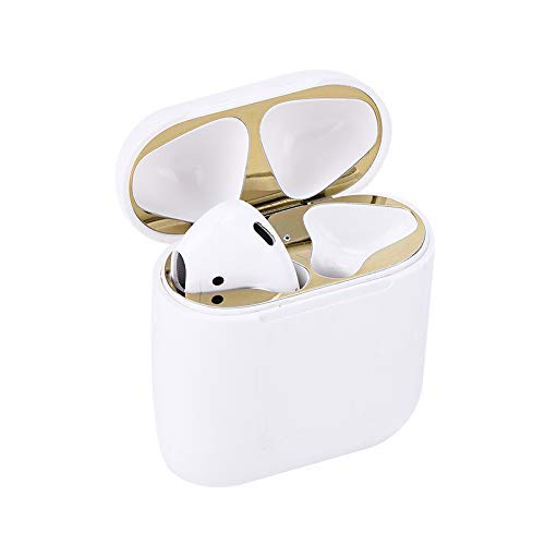 Dust Guard for AirPods, Anti-Scratches Dustproof Metal Adhesive Guard Cover Sticker Protector for Airpods(2SETS) (Gold) ()