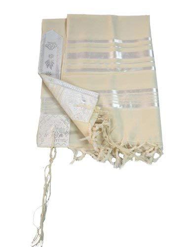 (Jewish White/White/Silver Tallit/Tallis Wool Prayer Shawl 51
