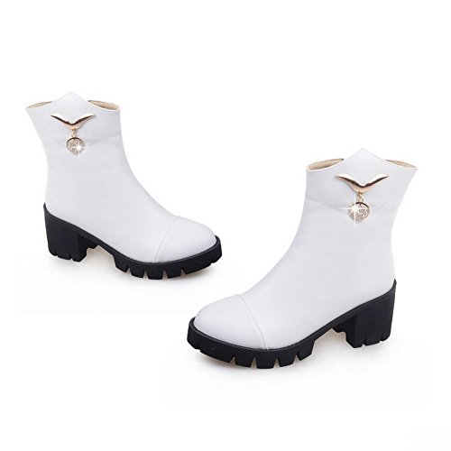 Low Kitten Top Round with Boots AgooLar White Women's Closed Charms PU Solid Toe Heels w5YxxqR6IX