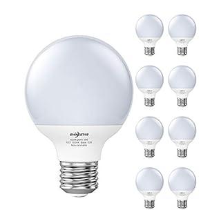 SHINESTAR 8-Pack G25 LED Globe Light Bulbs for Bathroom, 60 watt Equivalent, Daylight 5000K, E26 Round LED Vanity Light Bulbs for Makeup Mirror, Non-dimmable
