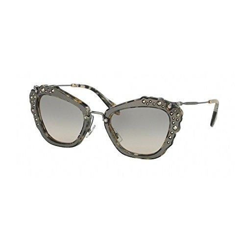 Miu Miu 04Qs DHE3H2 Marble White / Black 04Qs Cats Eyes Sunglasses Lens - Miu Eye Sunglasses Tortoise Cat Miu