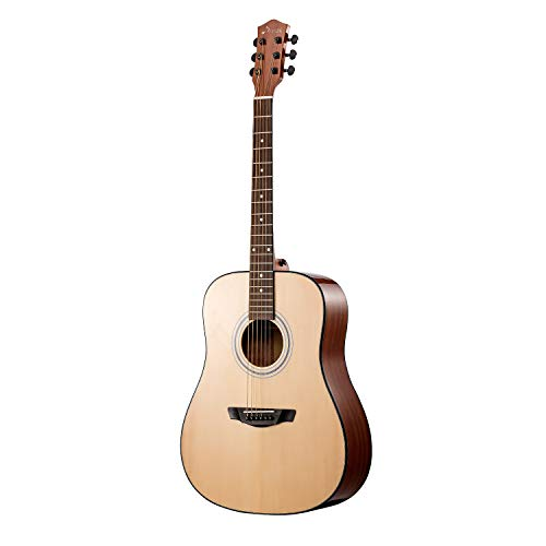 Donner 6 String Solid Top Acoustic Full Size, 41″ Dreadnought Guitar, Right (DAD-412)
