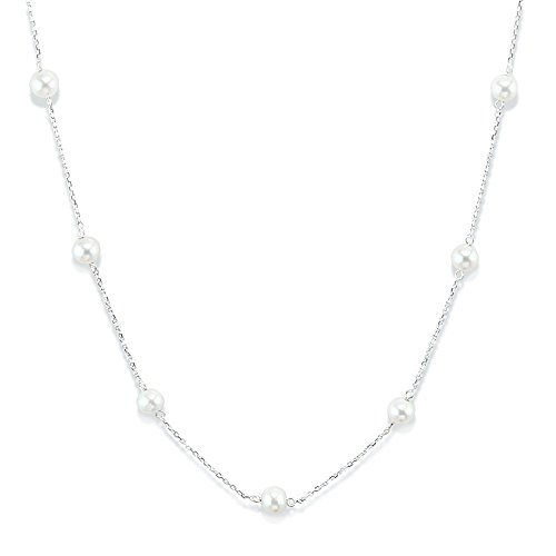 14K White Gold Tin Cup Necklace With Cultured Freshwater Pearls 16 -20 Inch by amazinite
