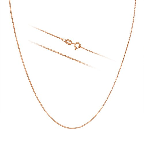 Rose Gold Plated Sterling Silver Necklace - 1mm Box Chain - Hypoallergenic and Tarnish Resistant - Classic Design and Comfortable Fit - 18