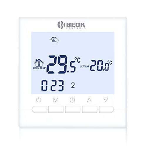 Beok BOT-313W 3A Termostato Programable Digital de Calefacción por Calderas de Gas,con Pantalla LCD Controlador de Temperatura de Luz de Fondo Blanco ...