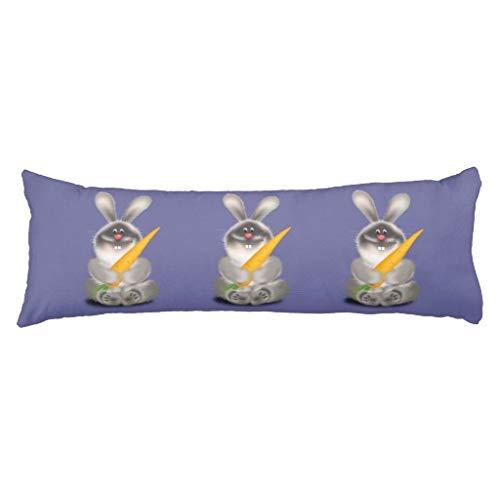 20x54 Long Body Pillow Cover Rabbit with Carrot Pregnancy Lumbar Pillow Case