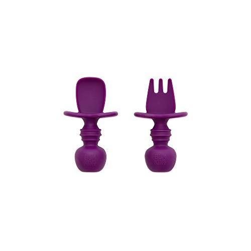 Bumkins Silicone Chewtensils, Baby Fork & Spoon Set, Training Utensils, Baby Led Weaning Stage 1 for Ages 6 Months+ Purple