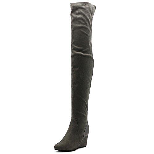 Ollio Women's Shoe Stretch Faux Suede Thigh High Wedge Heel Long Boots TWB01025(7.5 B(M) US, Grey)