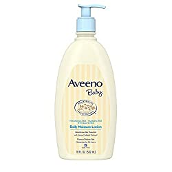 Aveeno Baby Daily Moisture Lotion with natural colloidal oatmeal features a nourishing, non-greasy formula that protects your little one's delicate skin and moisturizes for a full 24 hours. This baby moisturizing lotion is specially formulated to be ...