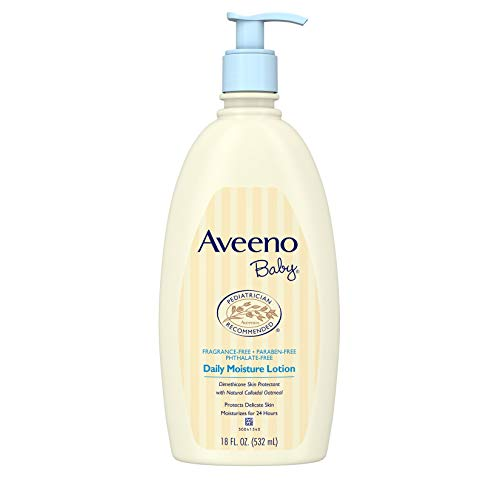 - Aveeno Baby Daily Moisture Lotion with Natural Colloidal Oatmeal & Dimethicone, Fragrance-Free, 18 fl. Oz