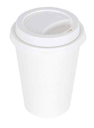 CucinaPrime WHITE Paper Coffee Hot Cups with WHITE Travel Lids - 12 oz, 100 Count (Hot Cocoa Cups With Lids)