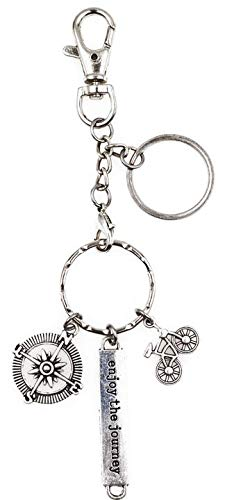 It's All About...You! Enjoy The Journey Compass Bicycle Charm Key Ring Lobster Claw Dog Leash Swivel Hook Clasp Interchangeable Detachable Keychain H2A
