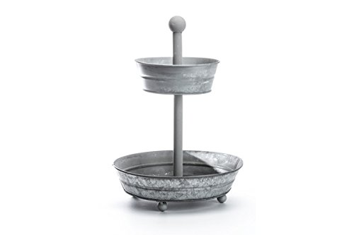 IRON Galvanized TWO Tiered Serving Platter Stand & Tray - Perfect for Cake, Cupcakes, Fruit, Vegetables, Dessert, Shrimp, Appetizers & More