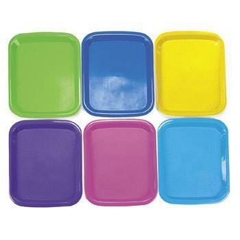 "6 Plastic Cool Craft Art supplies Artist Painting Mixing Trays Large (Size: 14 1/2"" x 10 3/4"")- Purple Yellow, Blue, Pink Green"