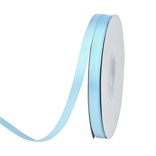 Ribest 3/8 inch 50 Yards Solid Double Face Satin Ribbon Per Roll for DIY Hair Accessories Scrapbooking Gift Packaging Party Decoration Wedding Flowers Light Blue