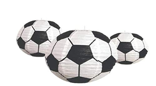 Sports Balls Paper Lanterns Soccer Set of Three for Party Decorations, Team Events, Sports Themed Parties, Home and Office Deco