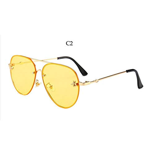 Lens De Femmes Yellow Cadre Lunettes Soleil Hommes Aviateur nbsp;soleil Ysfu Abeille Lunettes Mode nbsp;de Dames Métal Ombre xCaqwYUH