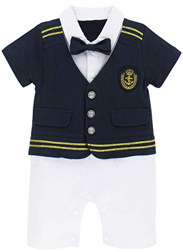 A&J DESIGN Baby Boys' Sailor Captain Costume Romper Outfit (9-12 Months, Blue)