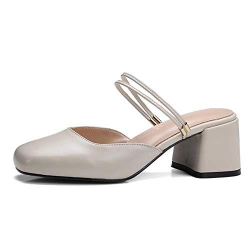 QOIQNLSN De Confort Nappa Talón Negro Primavera Zapatos Chunky Mujer White Cuero Tacones Blanco pwrgxp5qCn