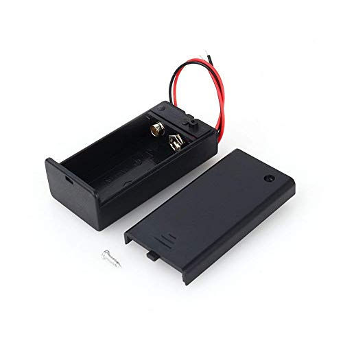 9V Volt Battery Holder Box DC Storage Case with Wire Lead ON/OFF Switch Cap 3Pcs ()