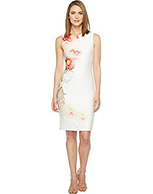 Calvin Klein Women's Sleeveless Sheath Dress with Floral Pattern