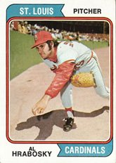 1974 Topps Regular (Baseball) card#108 Al Hrabosky of the St. Louis Cardinals Grade Excellent to Excellent Mint Al Hrabosky St Louis