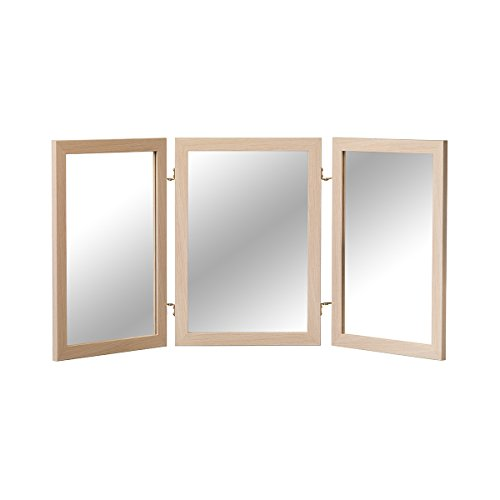 Mirrotek Classic Wood Table Top 3 Way Vanity Desk Folding Personal Face Makeup Mirror, Oak Wood (Oak Plastic Folding Table)