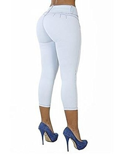 Couleur Fit Skinny t Pantalon Jeans Basse Slim Taille Blanc Casual Femme Unie 5w1T8