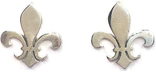 MASBARATA.ES Boucles doreilles fleur de lys en argent 925//1000